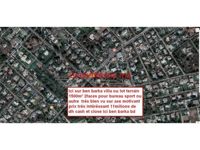 villa ancienne 2faces 1500m² pour bureau  sur ben barka rabat