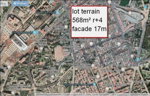 terrain  568m²  magnifique pour immeuble r+4 facade 17m  agdal