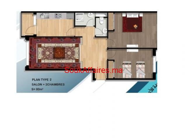 Appartement de 69m avec Cuisine équipé à bouznika