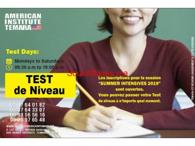 réserver un rendez-vous pour un test de niveau afin de vous inscrire à l'un de nos cours à Temara