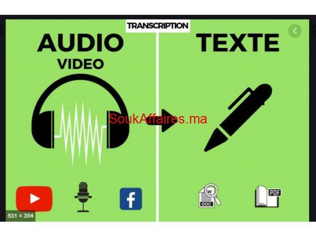 Transcription audio en texte – Retranscription - Saisie texte